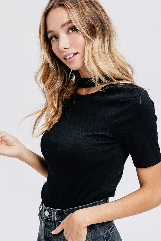 Basic CutOut Neck Top (Black) - Pineapple Collective