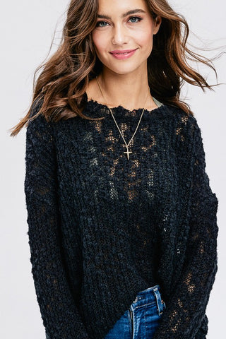 Just Have Fun Semi-Sheer Sweater Tunic (Black)