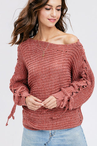 Like I Want It Lace Up Sleeve Sweater (Marsala)