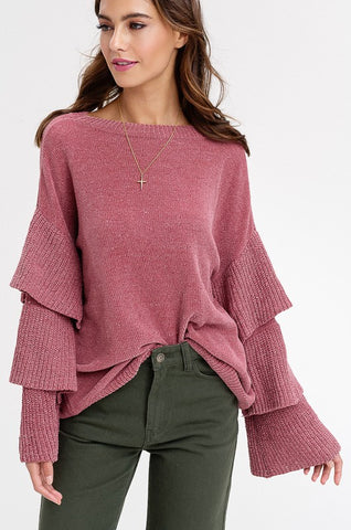 Chenille Layered Sleeves Pullover Sweaters (Rose) - Pineapple Collective