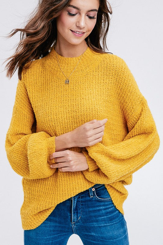 Basic Mock Neck Pullover Sweater (Mustard) - Pineapple Collective
