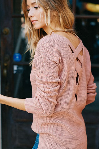 Dance With Me V Neck Lace Up Open Back Sweater (Blush) - Pineapple Collective