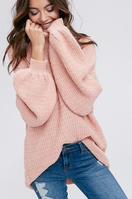 Basic Mock Neck Pullover Sweater (Dust Pink) - Pineapple Collective