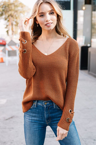 Sweet Secrets Slouchy Knit Sweater (Camel)
