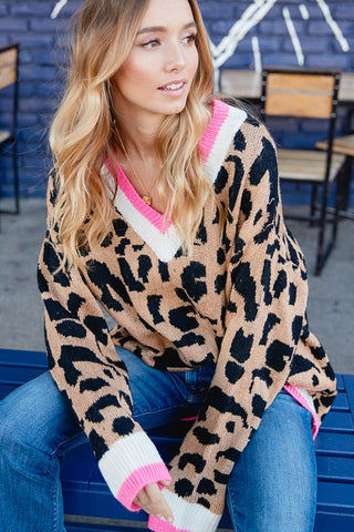 PRE-ORDER: Leopard Oversized Sweater (Pink)