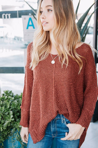 Soft V Neck Luxe Sweater (Rust)