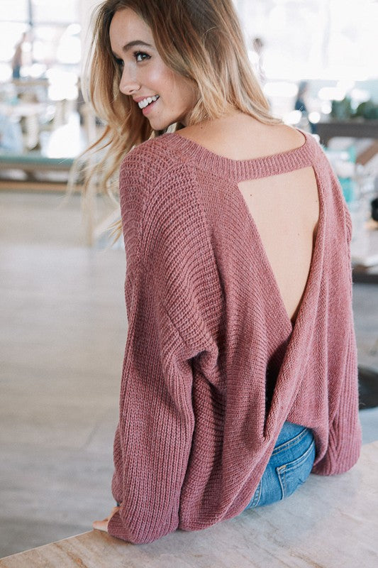 Love You More Twisted Open Back Tunic Sweater (Marsala) - Pineapple Collective