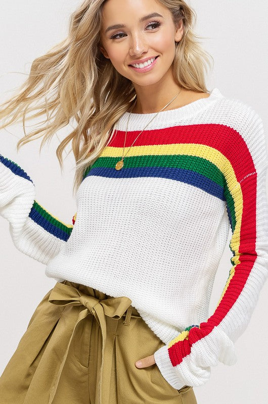 Multi Color Striped Sweater (Ivory) - Pineapple Collective