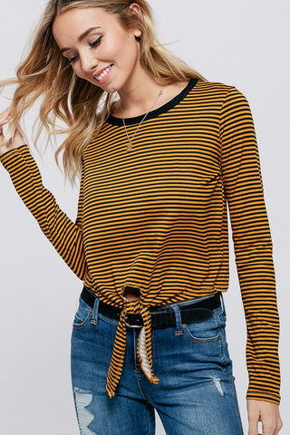 Front Tie Striped Long Sleeve Top (Mustard) - Pineapple Collective