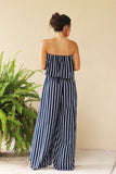 Summer Breeze Side Leg Slits Stripe Jumpsuit - Pineapple Collective