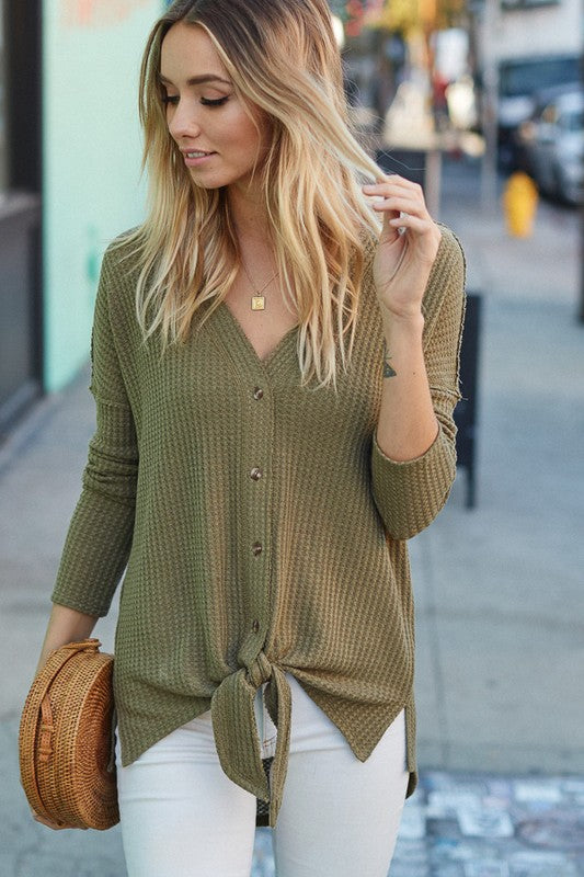 Waffle Knit Button Sweater Top (Olive)