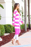 Pink Dreams Striped Long Knit Cardigan (Pink) - Pineapple Collective