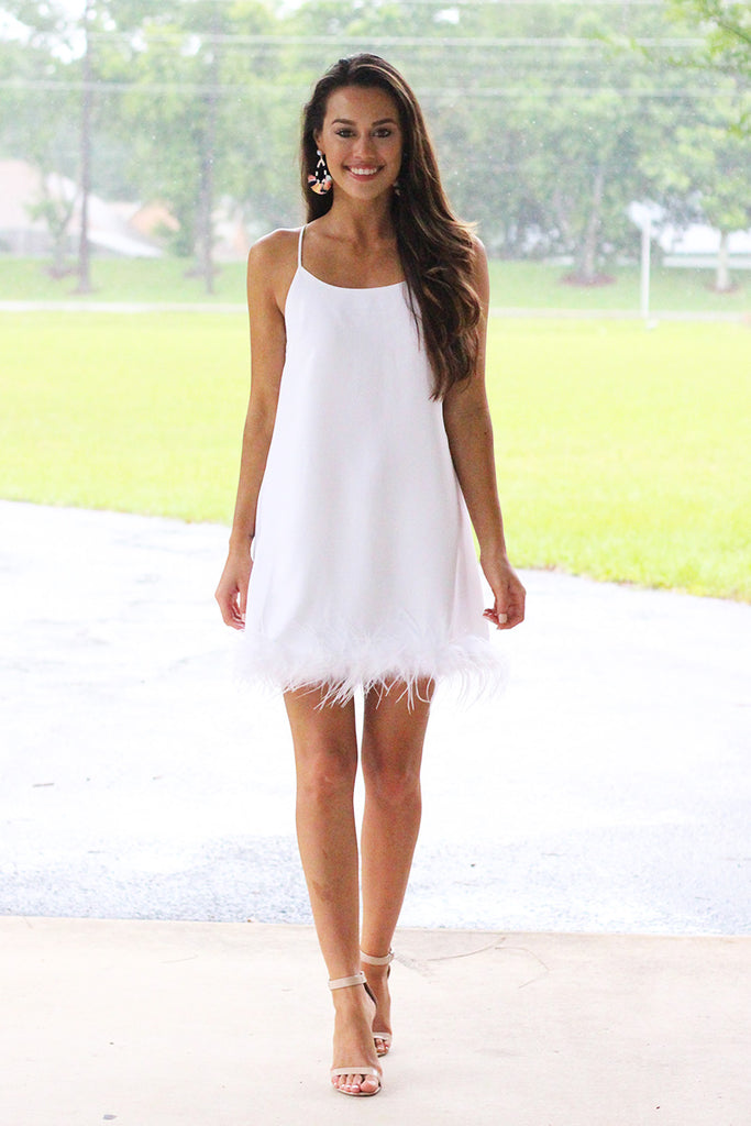 Feather Embellished Slip Shift Dress (White) - Pineapple Collective