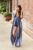 Feel The Wind Tie Dye 3/4 Roll-Up Maxi Romper (Navy) - Pineapple Collective