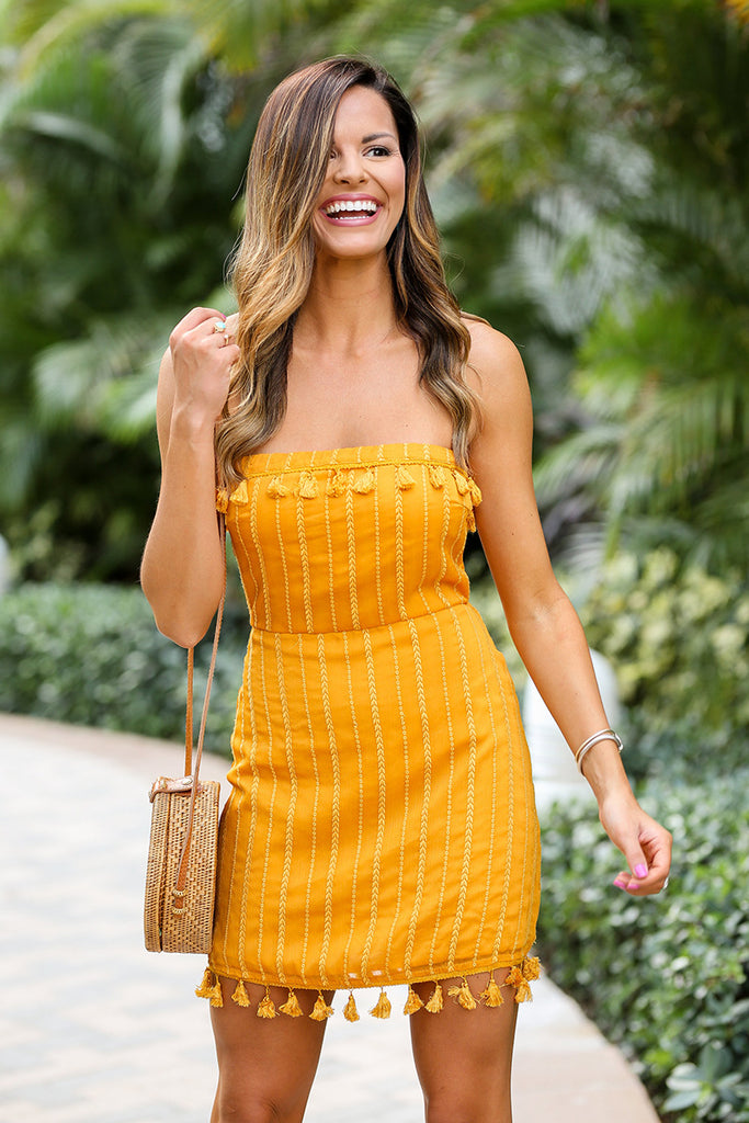 Take Me To Bermuda Tassel Trim Dress (Yellow) - Pineapple Collective