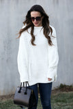 'Bess' Chenille Oversized Sweater  (White) - Pineapple Collective