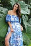 Open Arms Blue Print Off The Shoulder Dress (Blue/Ivory) - Pineapple Collective