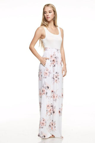 Dreaming of Spring Contrast Floral Maxi Dress (Ivory)
