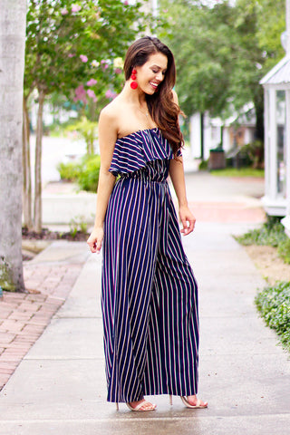 Mad Love Strapless Striped Tube Jumpsuit (Navy) - Pineapple Collective