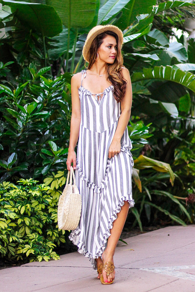 Endless Summer Striped Maxi Dress (Grey) - Pineapple Collective