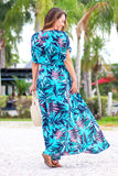 Beach Life Palm Print Dress (Blue) - Pineapple Collective