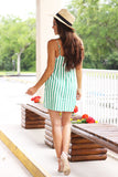 Last Minute Faux Wrap Striped Dress (Green) - Pineapple Collective