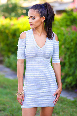 Girls Night Out Striped Rib Cold Shoulder Body Con Dress (Light Gray) - Pineapple Collective