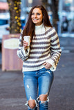 'Kristin' Chunky Striped Long Sleeve Knit Sweater (Grey) - Pineapple Collective