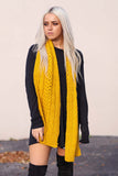 Sunshine Cable and Basket Knit Scarf (Mustard) - Pineapple Collective