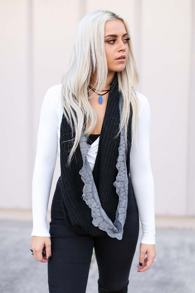 Lace Trim Marled Infinity Scarf (Black) - Pineapple Collective