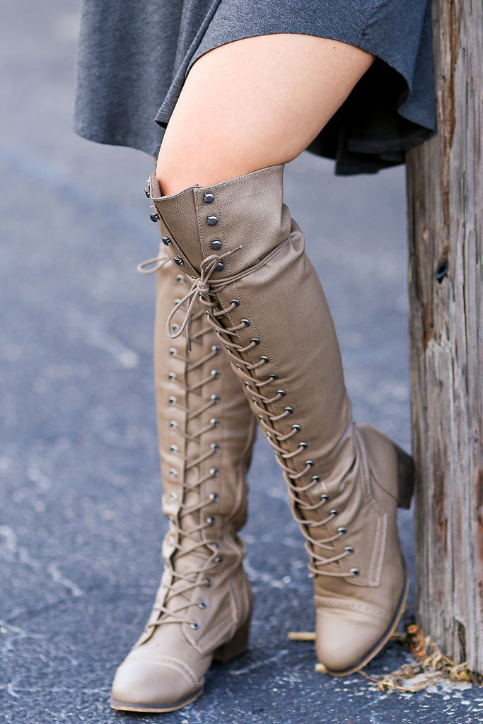 Over the Knee Lace Up Boots (Beige) - Pineapple Collective