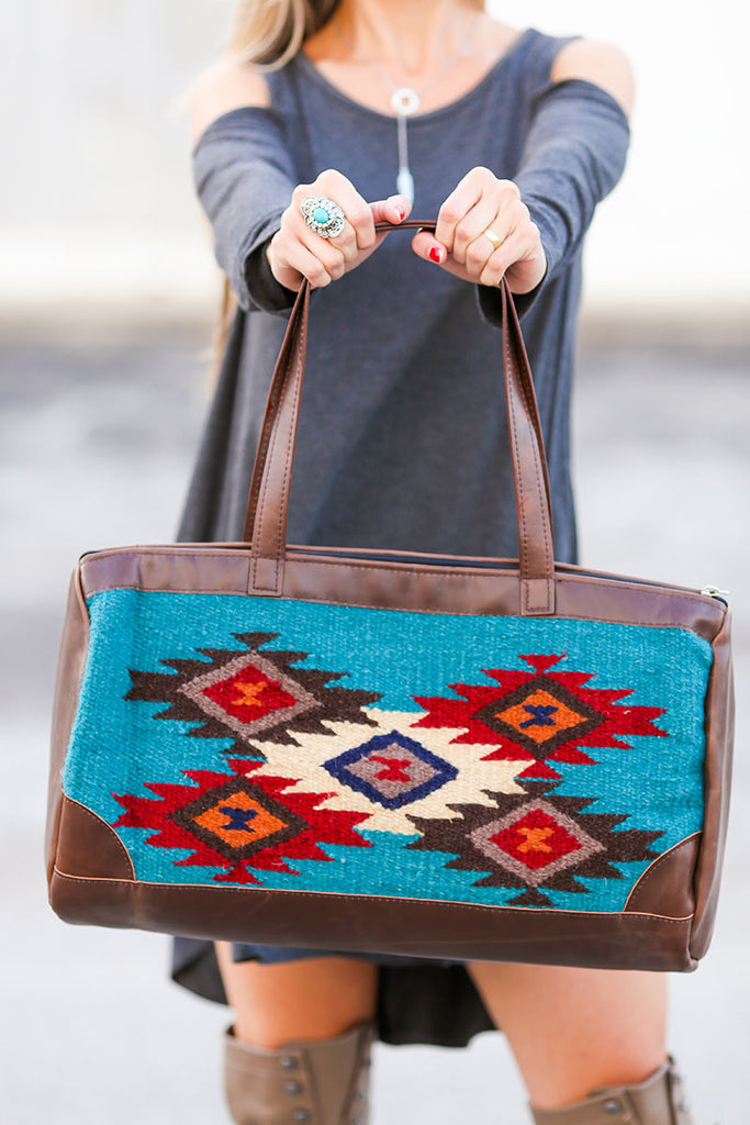 Southwestern Oversized Handbag (Blue) - Pineapple Collective