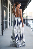 Tribal Print Maxi Dress (Blueberry) - Pineapple Collective