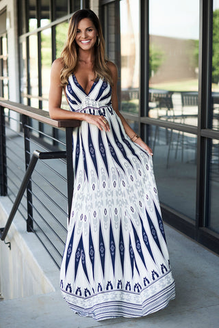 Tribal Print Maxi Dress (Blueberry)