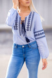 Chic Bohemian Pattern Long Sleeve Embroidered Top (Blue) - Pineapple Collective