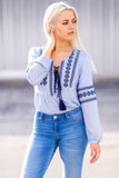 Chic Bohemian Pattern Long Sleeve Embroidered Top (Blue)