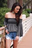 My Lucky Day Off Shoulder Smocked Crinkled Bell Sleeve Top (Olive) - Pineapple Collective
