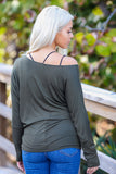 Off-The-Shoulder Long Sleeve Dolman Top (Olive) - Pineapple Collective