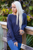 Off-The-Shoulder Long Sleeve Dolman Top (Heather Grey) - Pineapple Collective
