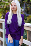 Off-The-Shoulder Long Sleeve Dolman Top (Purple) - Pineapple Collective