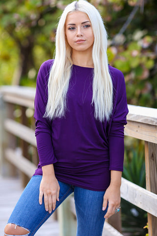 Off-The-Shoulder Long Sleeve Dolman Top (Purple)