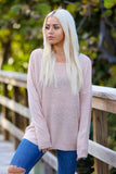 Make me Blush Lace up Detailed Long Sleeve Light Weight Sweater (Blush) - Pineapple Collective