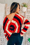Out Do It Striped twisted Back Sweater (Rust) - Pineapple Collective
