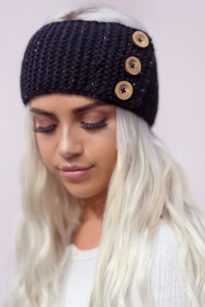 Three Button Knit Headband (Black) - Pineapple Collective