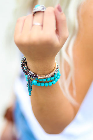 Be Brave Gold Feather Leather Bracelet - Pineapple Collective
