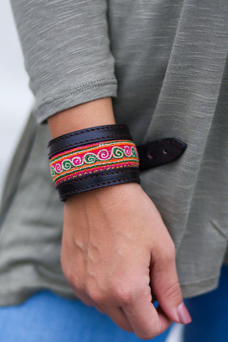 Vintage Hmong Fabric and Genuine Leather Bracelet - Pineapple Collective