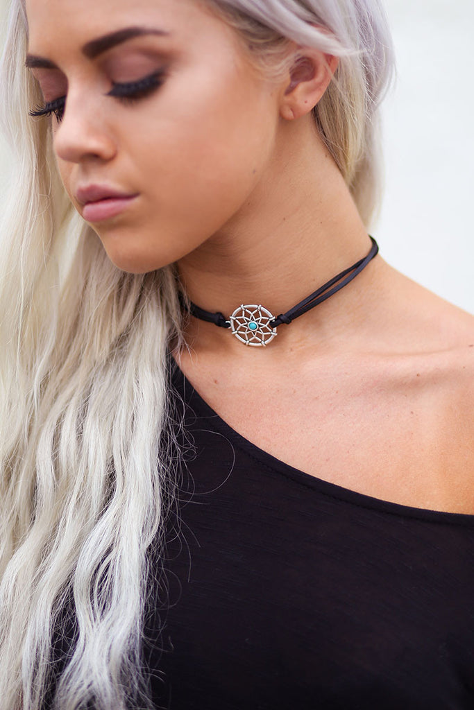 Turquoise Dream Catcher Leather Choker (Black) - Pineapple Collective