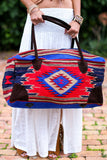 Southwestern Large Weekender Travel Bag (Red/Orange) - Pineapple Collective