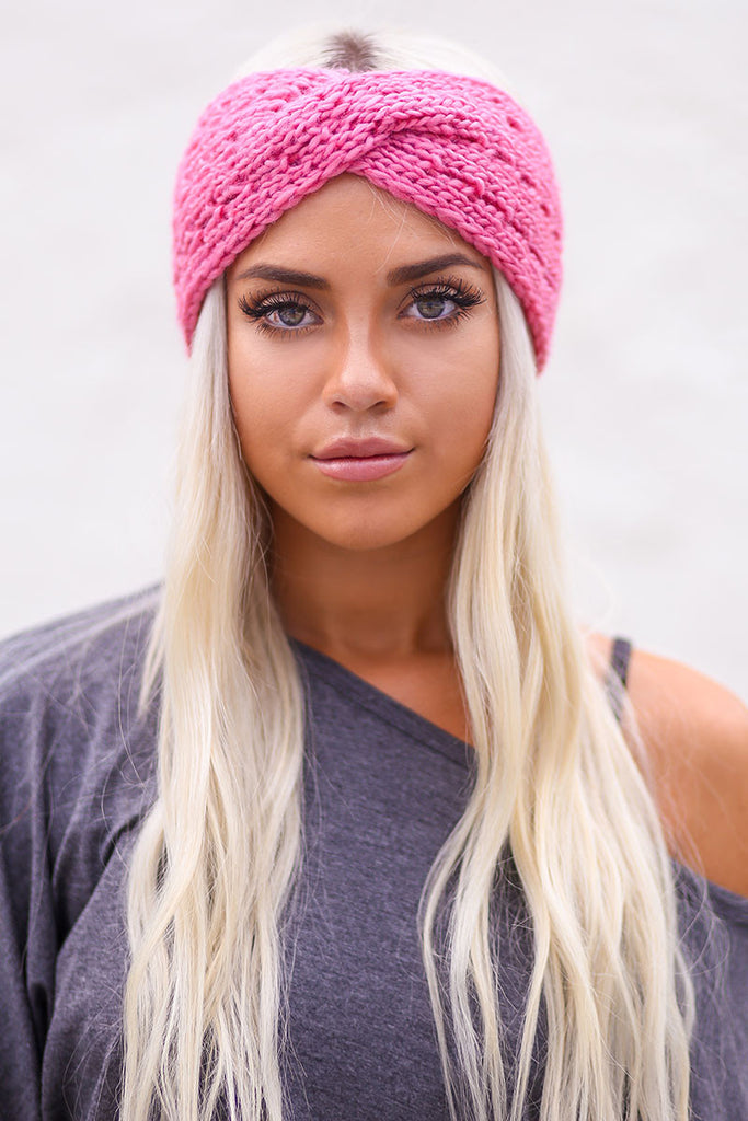 Twist Braid Knit Crochet Headband (Rose) - Pineapple Collective