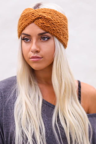 Twist Braid Knit Crochet Headband (Camel) - Pineapple Collective